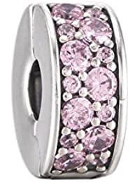 Pandora Damen-Charm Pavé Glanz-Clip 925 Silber Zirkonia rosa-791817PCZ