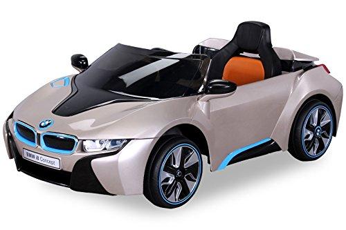 Actionbikes Motors NEU Kinder Elektroauto Lizenzierter Original BMW I8 mit 2 x 45 Watt Motor Elektro Kinderauto Kinderfahrzeug (Goldmetallik)