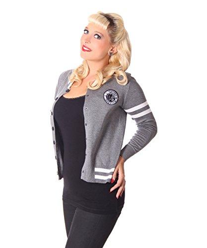 SugarShock Tessy Damen Baseball Cardigan Rockabilly Weste, Größe:OneSize, Farbe:grau