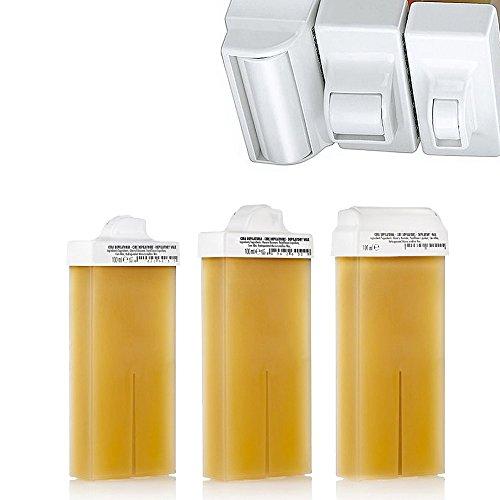Kosmetex Warmwachs-patronen Honig f. Intim-Enthaarung 8, 15, 45mm Mini, Schmal und Breit Aufsatz-Rollen Roll-On, 3 x Mix