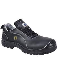 Portwest FC02Piel Zapatos de Seguridad ESD S1, Negro