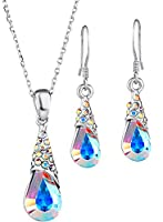 Neoglory Jewellery Made With SWAROVSKI Elements Crystal Auden Rhinestones Elegant Clear Teardrop Necklace and Earrings Set for Women