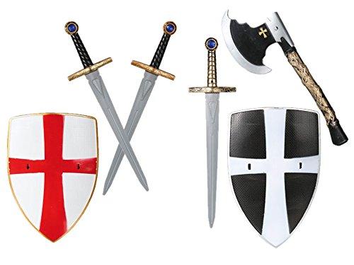 Ritter Kostüm Kunststoff Waffen Schild 3er Set Schwert Spielzeug Kinder (Ritter Schild Kostüm)