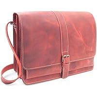 ee2de993394cd Made in Germany Vintage Messenger Bag - Laptoptasche CHICAGO aus Echtleder  in rot antik inkl.
