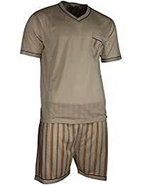 Herren Schlafanzug Shorty T-Shirt bedruckt Hose mit Streifen kurz 2-tlg in 6 Farben - Qualität von Lavazio®