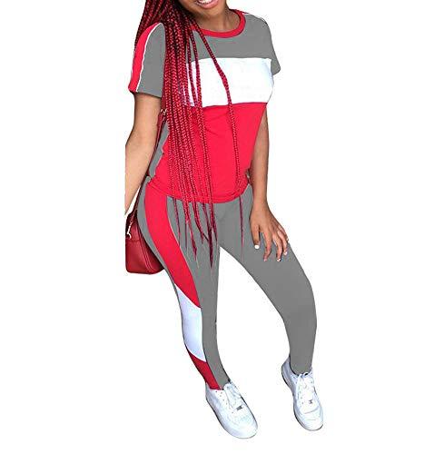 2-teiliges Sportoutfit für Damen, Streifen-Patchwork-Trainingsanzug, kurzärmeliger Pullover, Sweatshirt und lange Hose, Trainingsanzug-Set -  grau -  Groß