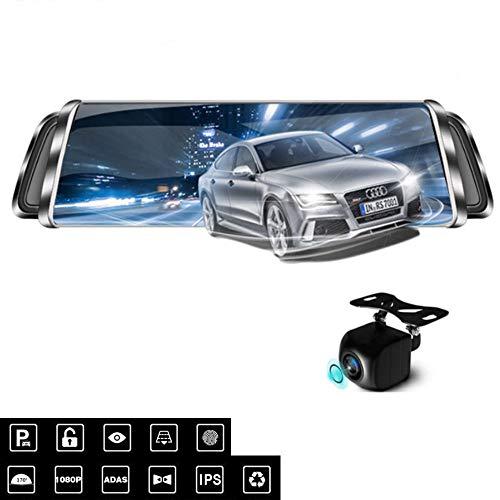 Lu Fahrregorder, 1080p HD 170 ° Weitwinkel-Rückspiegel, Navigation Doppelaufzeichnung Bluetooth WiFi-Bewegungserkennungsschleife Blockflöte Nachtsicht