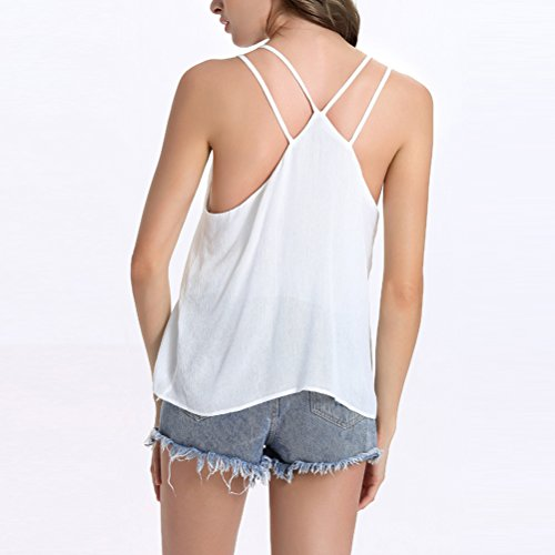 Zhhlaixing Elegante Summer Ladies Camisole V-neck Backless Embroidery Cotton Shirt Vest Tops per Donne White