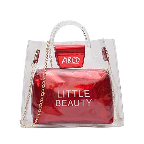 Liqiqi borse in plastica trasparente, borsa in metallo con borsa olografica trasparente con manico in pvc, con catena
