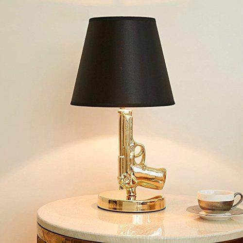 Pointhx Electroplate Gold Gun Lamp Pistol Shape Bedside Table Lamp Classic Bedroom Lamps For Living Room Novelty Led Desk Lamps Color Gold Buy Online In Dominica At Dominica Desertcart Com Productid 77581982