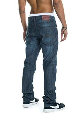 Rocawear Homme Jeans Straight Fit Leather Patch Bleu