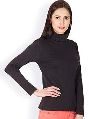 Hypernation Black Color Casual High Neck T-Shirt for Women