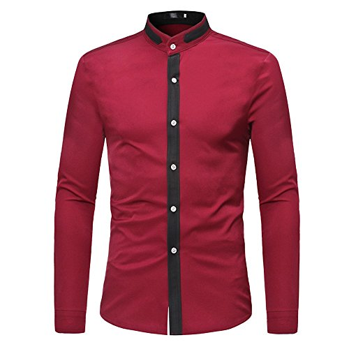 Hemd-dünne Patchwork-Sommer-beiläufige lange Hülsen-T-Shirt Beiläufige Bluse Kinlene Herren