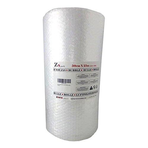 Zs Products -Rollo de plástico de burbujas (Ancho 0,50 metros Largo 25 metros) para envolver, protección de objetos frágiles, embalaje, transporte y mudanzas. Papel de burbujas de calidad europea