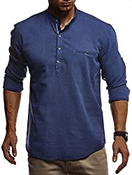 Leif Nelson Herren Leinenhemd Hemd Leinen Kurzarm T-Shirt Oversize Stehkragen Männer Freizeithemd Sommerhemd Regular Fit Jungen Basic Shirt Kurzarmshirt Freizeit Sweater LN3865 Blau Medium