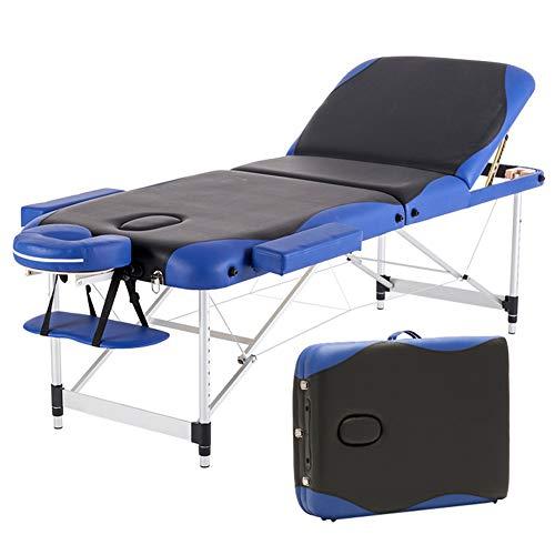 Thole Kopfstütze Massageliege Mobile Massagetisch Massagebank Massagestuhl - Aluminium Deluxe 3 Zonen klappbar Höhenverstellbare mit Tragetasche Einfache Installation 185cm*700cm,Blue -