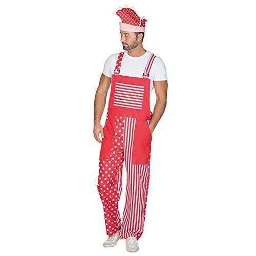 PARTY DISCOUNT® Herren-Kostüm Latzhose Rot-Weiß, Gr. - Rot Party Kostüm