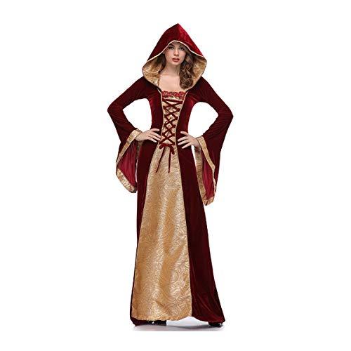 Handschuhe Kostüm König Hexe - Halloween Erwachsene KostüM, Mantel Ghostly Bride Halloween Costume Kleid,Vampire Party Cosplay Geisterbraut Abendkleid,Karneval FüR Damen Dame AusfüHren KostüMe Zombie Braut Vampir Dress Set