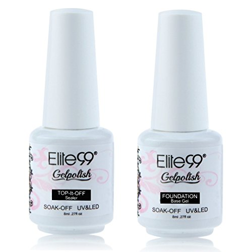 Elite99 Smalto Semipermente per Unghie in Gel UV LED Base e Top coat Semipermanente 2pzs Kit per Manicure Smalti Gel per Unghie Soak Off 8ml
