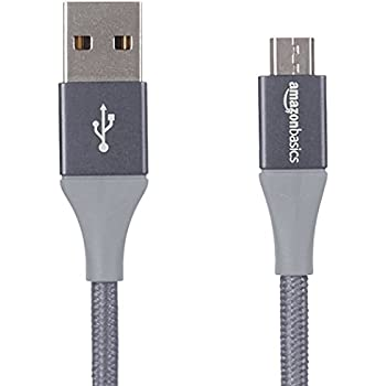 AmazonBasics Double Braided Nylon Micro USB Charging Cable for Android Phones (1 Feet, Dark Grey)