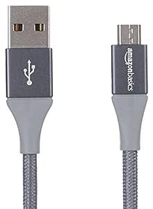 AmazonBasics Double Braided Nylon Micro USB Charging Cable for Android Phones (3 Feet, Dark Grey)