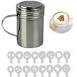 Shaker FiNeWaY@, spolverino per cioccolato in acciaio INOX, con 16 stampini per cappuccino, da barista.