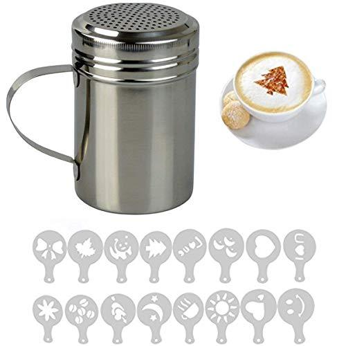 Fineway, mélangeur de chocolat en acier inoxydable, 16 pochoirs baristo de cappuccino