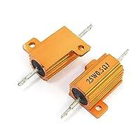 2 Pcs Gold Tone Axial Aluminum Housed Clad Resistor 25W 0.5 Ohm 5%