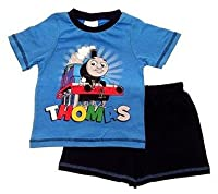 New Kids Boys Official Thomas The Tank Engine Trains Short Sleeved Pyjamas Shorts Pjs Set Navy Blue Red Childrens Size 1-2 Years
