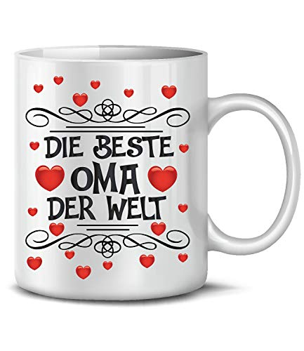 Golebros Die beeste Oma 6278 Tasse Becher Kaffee Geburtags Mutti mom Omi Mother Valentinstag Ideen Herz mit Spruch für sie Day Weiss