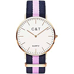 C+T Watch Watch CT-1 Gold Nylon Nato Strap Navy Pink
