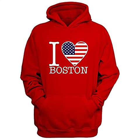 Idakoos I love Boston American Flag - US Cities - Hoodie