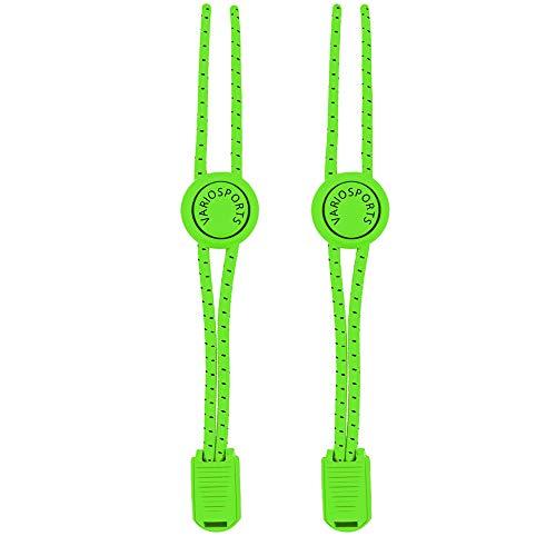 Schnellschnürsystem Variosports® - elastische Schnürsenkel mit Schnellverschluss - Lock Shoe Laces - schleifenlos Schuhbänder - (neon-grün-schwarz)