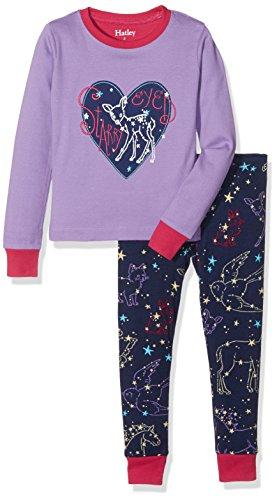 Hatley Mädchen 100% Organic Cotton Long Sleeve Appliqué Pyjama Sets Zweiteiliger Schlafanzug, Violett (Celestial Night 500), 6 Jahre - 100 Applique