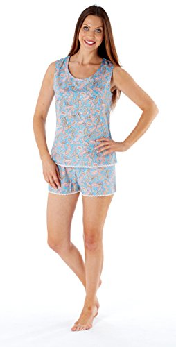 Femmes Bud Haut Sans Manche Shorty Court Set Pyjama Bleu