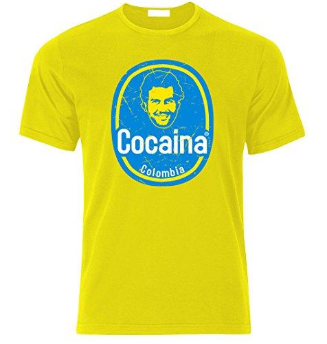 T-Shirt Inspiriert von Pablo Escobar Plata o Plomo Colombia Kartel cocaina t Shirt T-Shirt (L, Gelb)