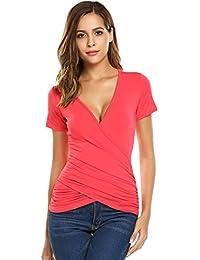 8a3c9fded8db9a Beyove Damen Sexy V-Ausschnitt Wickelshirt Kurzarm Langarm Slim Fit Shirt  Bluse Obertail mit Rüschen…