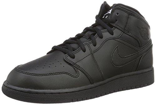 Nike Air Jordan 1 Mid Bg, Chaussures de Basketball Mixte Enfant Noir (Schwarz)