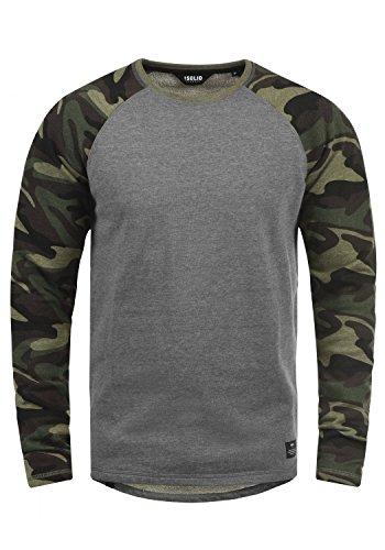 Baumwolle Tipped Pullover Mit V-ausschnitt (!Solid Cooper Herren Sweatshirt Pullover Pulli Baseball-Sweatshirt Mit Rundhals Und Camouflage-Ärmeln Aus 100% Baumwolle, Größe:M, Farbe:Grey Melange (8236))