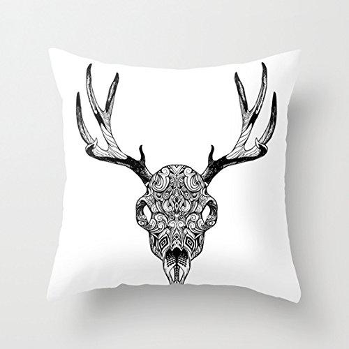 Ciervo calavera fundas de almohada decorativo lienzo manta funda de almohada 18x 18con cremallera para sofá