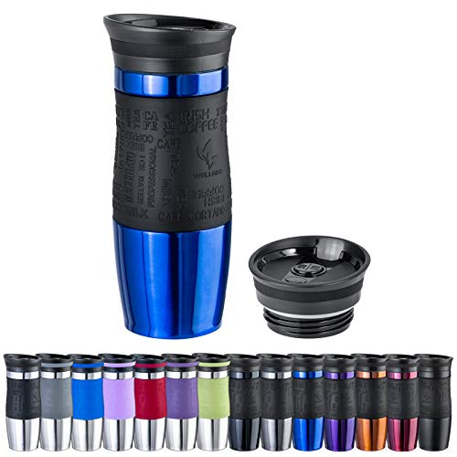 WELLGRO Thermobecher 400 ml + 1 Extradeckel - Edelstahl rostfrei - Silikon Soft-Touch Griffstück - BPA-frei - Isolierbecher doppelwandig - Travel Mug - Kaffeebecher to go, Farbe:Blau Metallic
