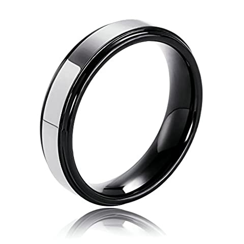 Epinki Men's Tungsten Ring Comfort Fit Spinner Two Tone Finish Round Shape Silver Black Size 9