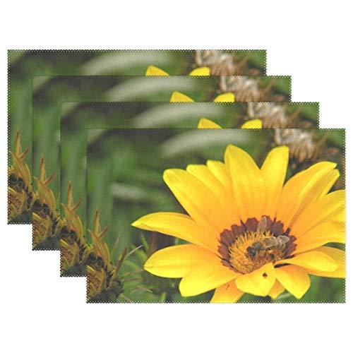 Promini Hitzebeständige Platzdeckchen, gelbe Blumen, Bienenenverunreinigung, waschbar, Polyester, Rutschfest, waschbar, Platzsets für Küche und Esszimmer, 4 Stück - Suntouch Mat