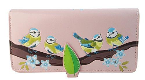 Shagwear Junge-Damen Geldbörse , Large Purse: verschiedene Farben und Designs: (Blaue Vögel Pink/ Blue Birds) (Schuhe Vögel)