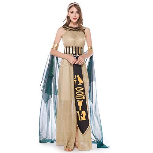 Kostüm Göttin Übergröße - TIFIY【♥Halloween】 Damen Kleid Frauen Halloween Cosplay Griechische Göttin Mittelalterlichen Kostüm Spielen Langes Kleid Neuheit Komisch Kleid(Gold,L)