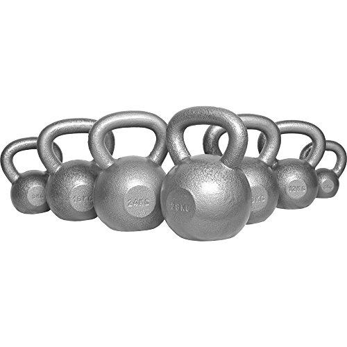 Gorilla Sports Erwachsene Gusseisen Kugelhantel Hantel Gewicht Handgewicht Schwungkugel Kettlebells, silber, 12 kg