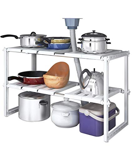 YOMYM Scaffale da Cucina, Scaffale Sottolavello/Stoviglie/Lavandino, Mensola Regolabile/Modulabile, Salvaspazio (A10)