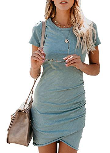 Bequemer Laden Damen kurzes Kleid Rundhals Kurzarm Etuikleid Bodycon Kleid Sexy Stretching Unregelmäßig Minikleid Grau-blau S