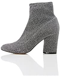 FIND Damen Sparkle Stretch Ankle Boots, Silber (PEWTER), 37 EU