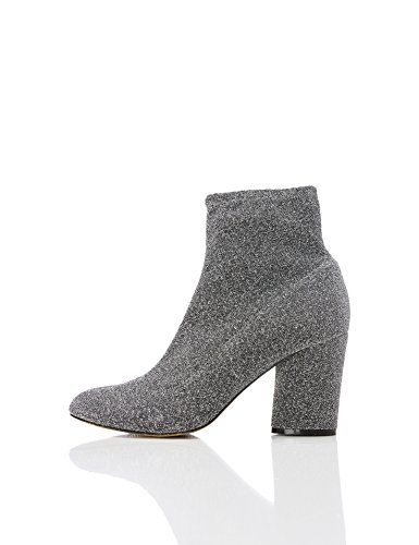 FIND Damen Sparkle Stretch Ankle Boots, Silber (PEWTER), 36 EU
